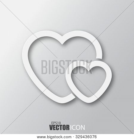 Two Hearts Icon In White Style With Shadow Isolated On Grey Background.