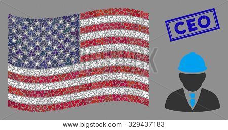 Engineer Icons Are Combined Into American Flag Collage With Blue Rectangle Distressed Stamp Watermar