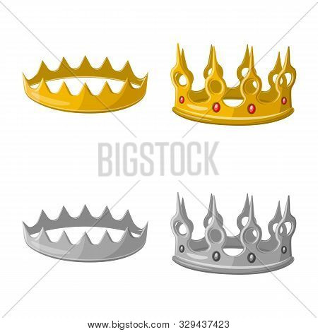 Vector Illustration Of Medieval And Nobility Symbol. Set Of Medieval And Monarchy Vector Icon For St