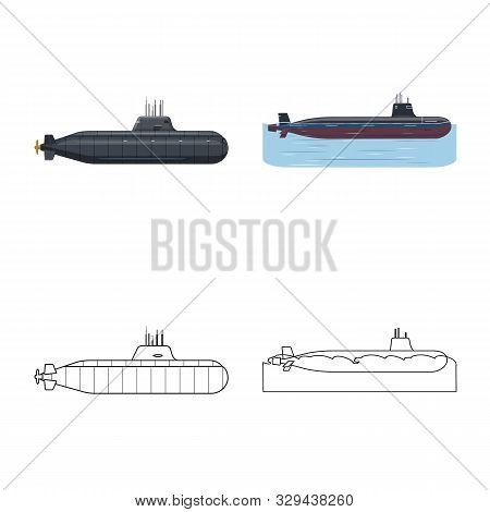 Isolated Object Of War And Ship Sign. Collection Of War And Fleet Stock Vector Illustration.