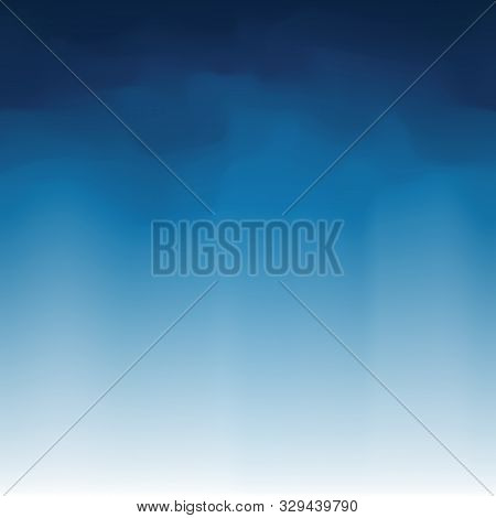Smoky Blue Backdrop. White Blue Gradient Vector Abstract Background, Foggy Sky. Gradient Smoky Backg