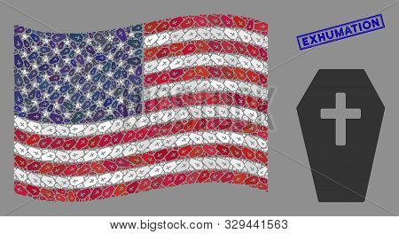 Coffin Icons Are Organized Into American Flag Stylization With Blue Rectangle Distressed Stamp Seal