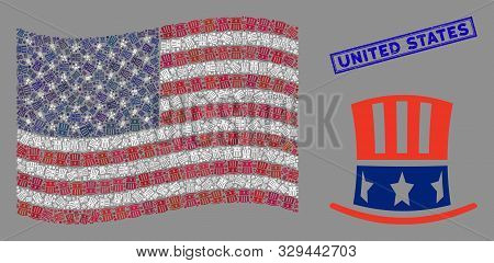 Uncle Sam Hat Items Are Organized Into Usa Flag Mosaic With Blue Rectangle Corroded Stamp Seal Of Un