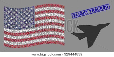 Airplane Intercepter Items Are Combined Into Usa Flag Collage With Blue Rectangle Distressed Stamp S