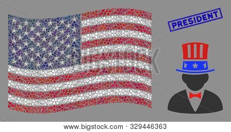 American Uncle Sam Icons Are Grouped Into Usa Flag Collage With Blue Rectangle Grunge Stamp Seal Of