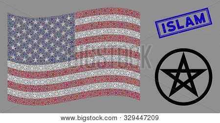 Star Pentacle Items Are Arranged Into American Flag Abstraction With Blue Rectangle Corroded Stamp S