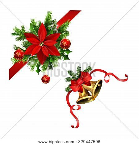 Christmas Corner Decorations Set For Your Designs Vector