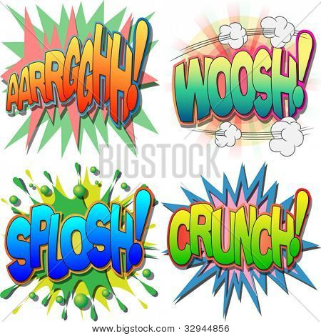 A Selection of Comic Book Exclamations and Action Words, Argh, Woosh, Splosh, Crunch