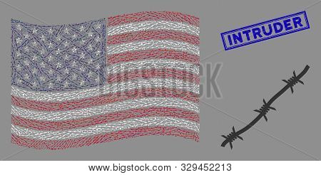 Barbed Wire Items Are Combined Into American Flag Abstraction With Blue Rectangle Corroded Stamp Sea