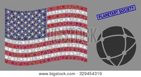 Network Items Are Grouped Into Usa Flag Collage With Blue Rectangle Distressed Stamp Watermark Of Pl