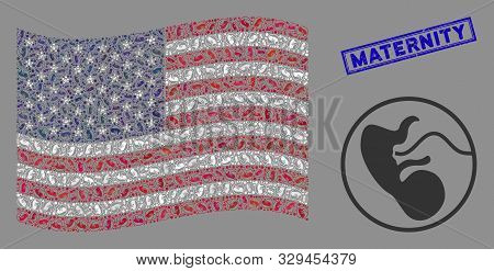 Prenatal Items Are Organized Into American Flag Collage With Blue Rectangle Distressed Stamp Waterma