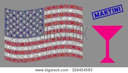 Martini Glass Items Are Organized Into Usa Flag Collage With Blue Rectangle Corroded Stamp Seal Of M
