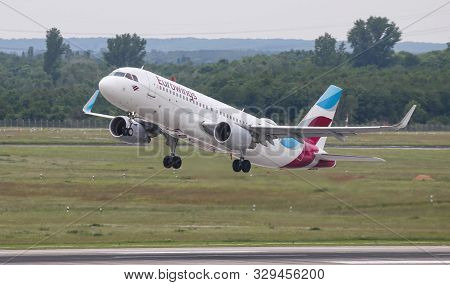 Airplane Takes Off From Dusseldorf Airport