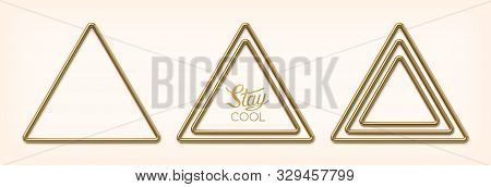 Set Of Abstract Golden Triangular Frames. Luxury Gold Borders Or Banners