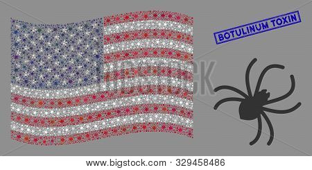 Spider items are grouped into USA flag abstraction with blue rectangle rubber stamp watermark of Botulinum Toxin phrase. Vector concept of America waving state flag is designed of spider items. poster
