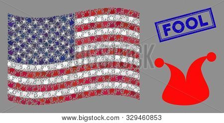 Joker Hat Symbols Are Combined Into Usa Flag Abstraction With Blue Rectangle Grunge Stamp Watermark