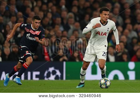 LONDON, ENGLAND - OCTOBER 22 2019: Tottenham's Dele Alli during the UEFA Champions League match between Tottenham Hotspur and Red Star Belgrade, at Tottenham Hotspur Stadium, London England.