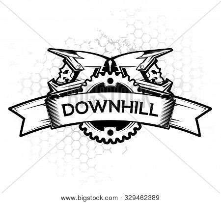 Logo Design With Ribbon Chain Ring And Full Face Helmets. Downhill Motocros Label Design. Downhill,