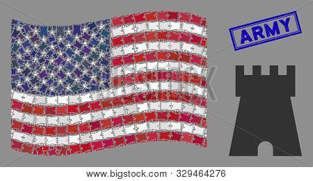 Bulwark Tower Pictograms Are Grouped Into American Flag Mosaic With Blue Rectangle Grunge Stamp Wate