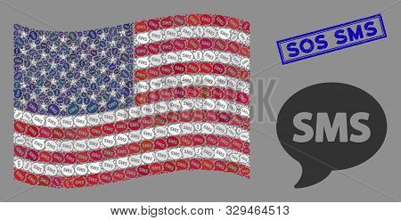 Sms Icons Are Grouped Into American Flag Collage With Blue Rectangle Corroded Stamp Watermark Of Sos