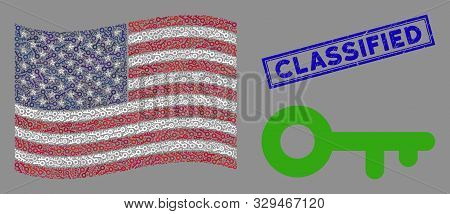Key Icons Are Arranged Into United States Flag Mosaic With Blue Rectangle Distressed Stamp Watermark