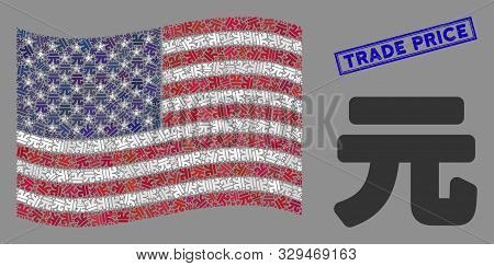Yuan Renminbi Pictograms Are Combined Into Usa Flag Collage With Blue Rectangle Corroded Stamp Water