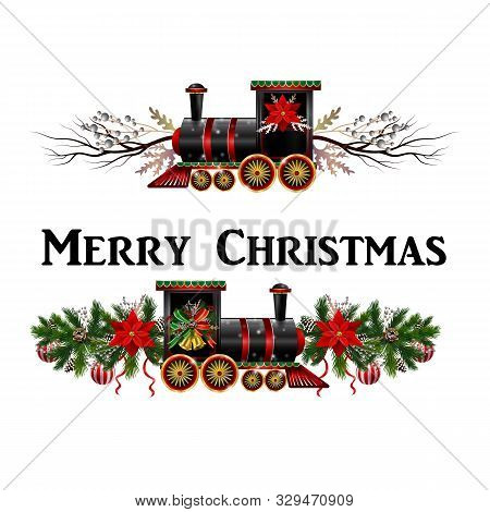 Little Christmas Train With Wagons Decorated Red Ribbon For Christmas Decoration Can Be Used Vector