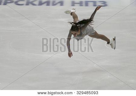 Minsk, Belarus -october 19, 2019: Figure Skater Lea Serna From France Performs Ladies Free Skating P