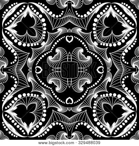 Intricate Black And White Lines Seamless Pattern. Intricacy Ornamental Abstract Lines And Shapes Bac