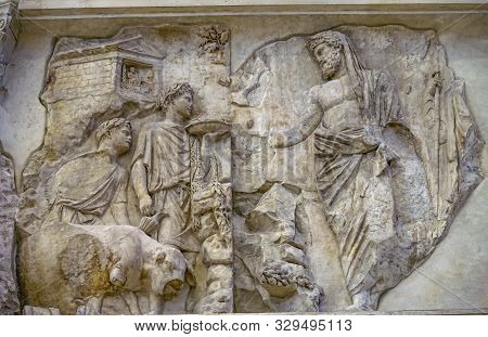 Rome, Italy - March 24, 2019 God Offering Sachrifice Statue Ara Pacis Altar Of Augustus Peace Rome I