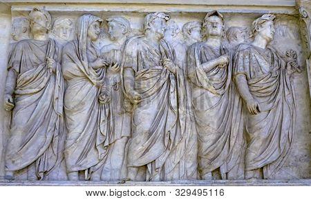 Rome, Italy - March 24, 2019 Imperial Family Statue Empero Tiberius Ara Pacis Altar Of Augustus Peac