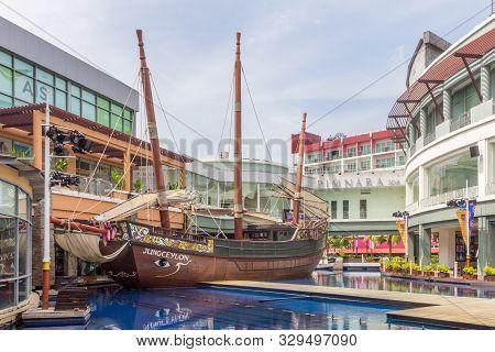 Patong, Phuket, Thailand - November 11th 2017: Mock Galleon Ship In Jung Ceylon, Shopping Centre. Th