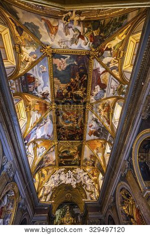 Rome, Italy - March 24, 2019  Long Ceiling Frescoes Nave Basilica Saint Maria In Trevio Rome Italy,