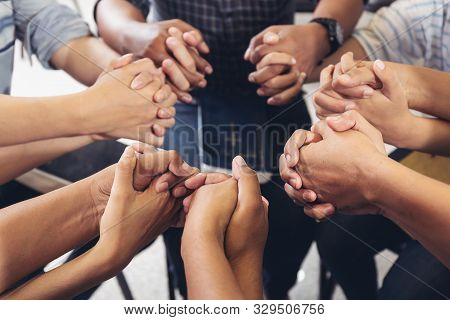 Group Community People Diverse Hands Holding Circle To Pray For God Each Other Support Together Team