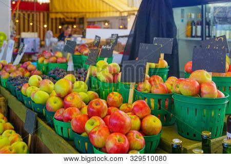 Apples And Other Fruits On Sale In The Jean-talon Market Market, Little Italy District, Montreal, Qu