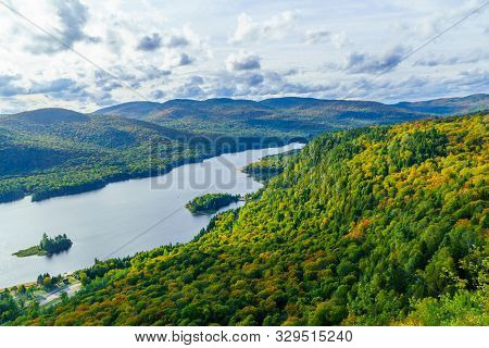 View Of La Roche Observation Point, Monroe Lake And The Park, With Fall Foliage Colors In Mont Tremb