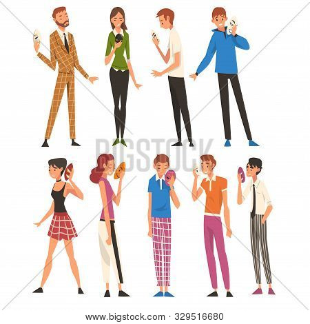 poster of People with Face Masks Set, Men and Women Changing Their Personality or Individuality to Conform to Social Requirements Vector Illustration