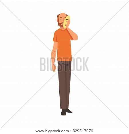 Bearded Man Covering His Face With Mask, Man Hiding His Natural Personality Or Individuality To Conf