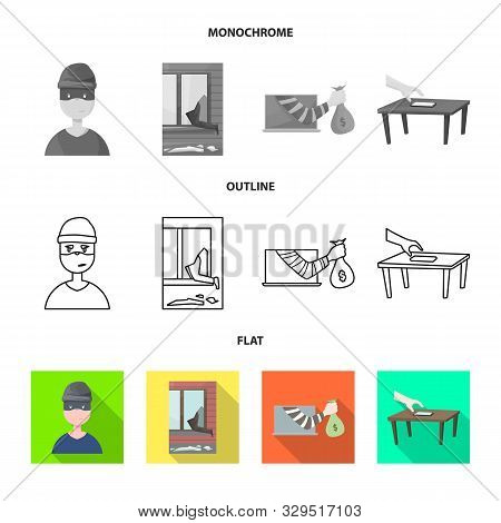 Isolated Object Of Crime And Steal Logo. Collection Of Crime And Villain Vector Icon For Stock.