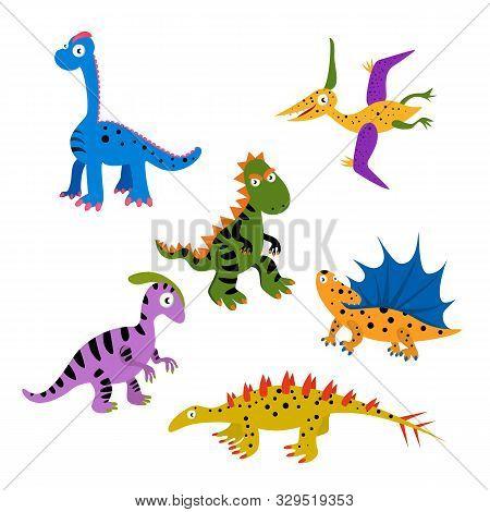 Funny Vector Collection Of Dinosaurs. Pteranodon, Dimetrodon, Brachiosaurus, Parasaurolophus,dacentr