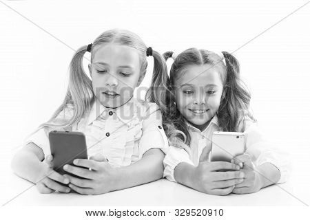 Smart Pupils. Little Pupils Texting Message During Class Isolated On White. Cute Lyceum Pupils Divin