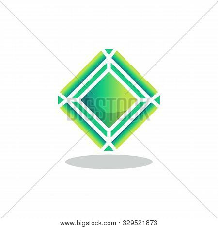 Green Crystal Stone Flat Icon, Vector Sign, Emerald Precious Stone Colorful Pictogram Isolated On Wh
