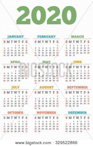 New 2020 Year Calendar Concept Banner. Flat Illustration Of New 2020 Year Calendar Vector Concept Ba