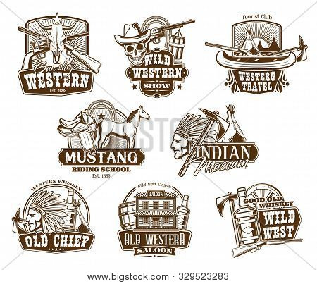 American Western Icons, Wild West Show And Rodeo Riding School Symbols. Vector Indigenous Museum, We