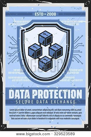 Internet Data Protection, Information Privacy And Secure Access Technology. Vector Retro Poster Of S