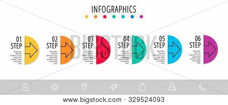 Vector Infographic Flat Template. Semicircle With Arrow For Six Diagrams, Graph, Flowchart, Timeline