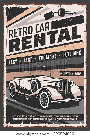 Retro Vehicle Rental Service, Old Vintage Cars Advertising Poster. Vector Rarity Vehicle Vip Luxury