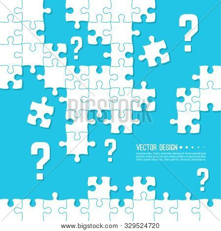 Vector Abstract Background With Unfinished Jigsaw Puzzle Pieces. Question Mark And Symbol. Problem S