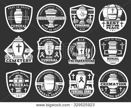Funeral Service Icons, Cremation Columbarium And Burial Ceremony Organization Signs. Vector Funeral