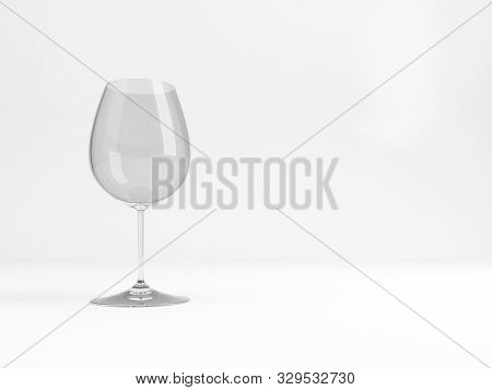 Empty Standard Pinot Noir Red Wine Glass With Soft Shadow Stands Over White Background, 3d Rendering